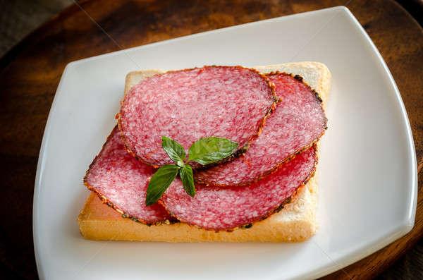 toast italienisch salami essen brot rot stock. Black Bedroom Furniture Sets. Home Design Ideas