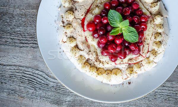 Pavlova meringue with cherries Stock photo © Alex9500