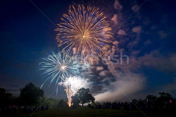 Insanlar bakıyor havai fişek onur gün yangın Stok fotoğraf © Alex9500