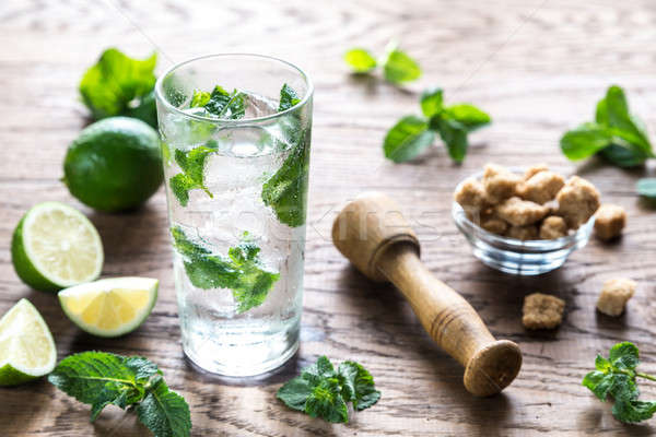 Glass of mojito with ingredients Stock photo © Alex9500
