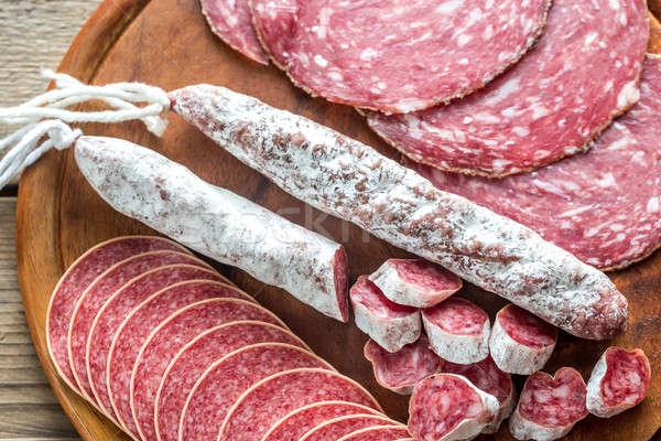Stockfoto: Verschillend · salami · voedsel · kaas · mes · witte