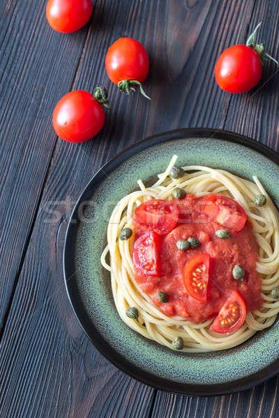Stok fotoğraf: Makarna · domates · sosu · plaka · gıda · tablo · yağ