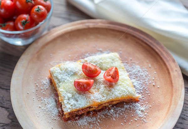 Lasagna pomodorini piatto sfondo metal spazio Foto d'archivio © Alex9500