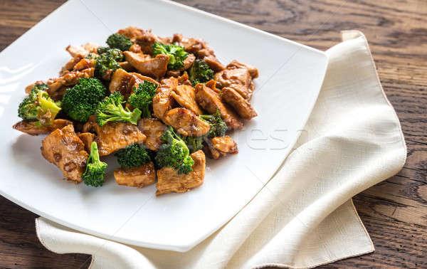 Tyúk brokkoli étel zöld hús ázsiai Stock fotó © Alex9500