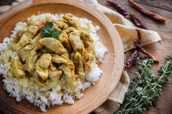 Indian chicken curry with white rice Stock photo © Alex9500