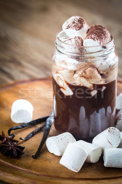 Kettő forró csokoládé üveg zöld ital cukorka Stock fotó © Alex9500