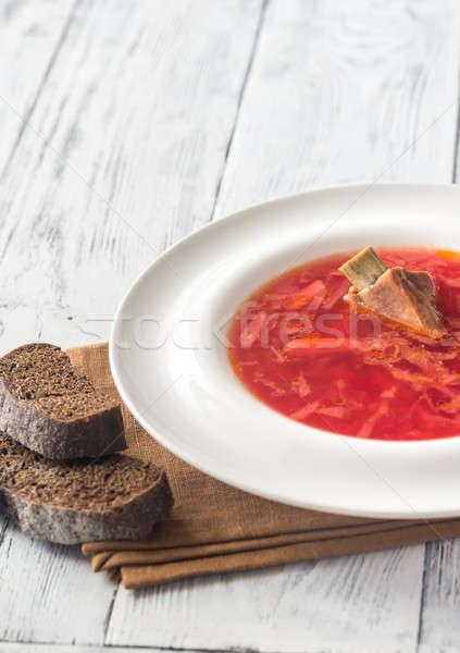 Hagyományos cékla leves kenyér vacsora fehér Stock fotó © Alex9500