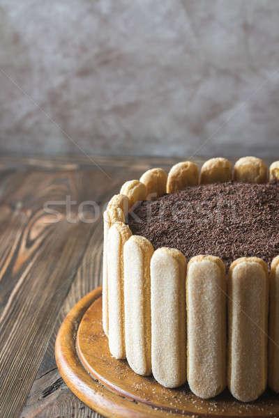 Tiramisu cake on the wooden board Stock photo © Alex9500