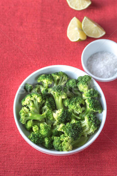 Bowl of cooked broccoli with seasonings Stock photo © Alex9500