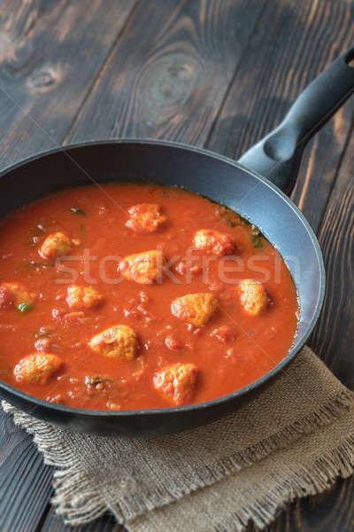 トマトスープ ミートボール 緑 ボール 肉 暗い ストックフォト © Alex9500