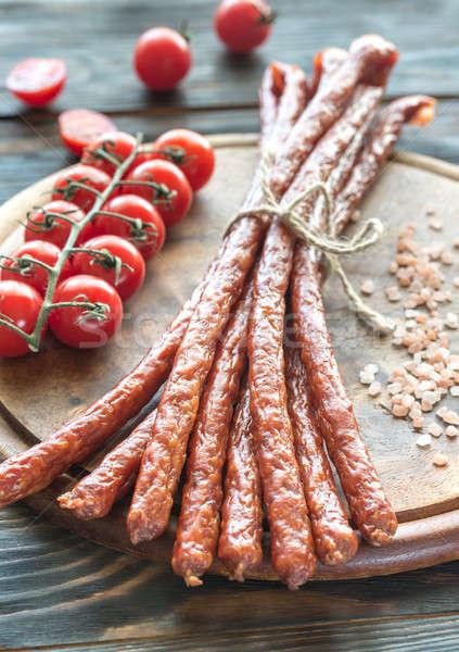 Smoked kabanosy sausages Stock photo © Alex9500