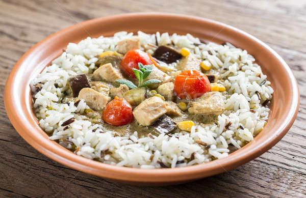 Thai vert poulet au curry blanche sauvage Photo stock © Alex9500