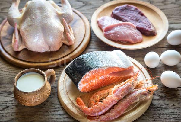 Fehérje diéta nyers termékek fából készült étel Stock fotó © Alex9500