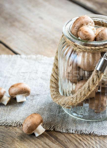 Kahverengi champignon mantar ahşap arka plan hayat Stok fotoğraf © Alex9500