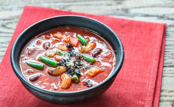 Bowl of minestrone soup Stock photo © Alex9500