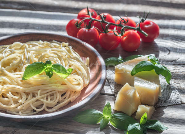 Portion of spaghetti with ingredients Stock photo © Alex9500