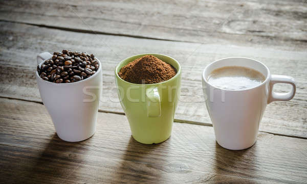 Three stages of coffee preparation Stock photo © Alex9500