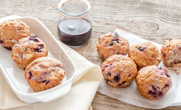 Cherry muffins on the wooden board Stock photo © Alex9500