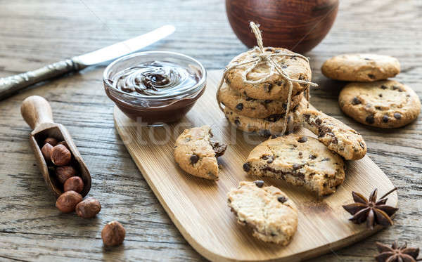 Cookies with chocolate cream and hazelnuts Stock photo © Alex9500