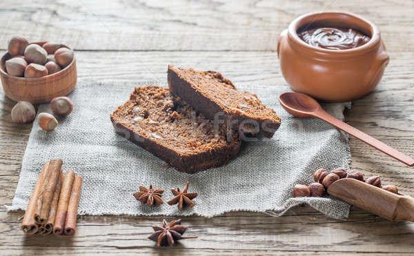 Slices of banana-chocolate bread with chocolate cream Stock photo © Alex9500