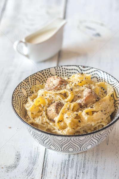 Bowl Alfredo pasta with mushrooms Stock photo © Alex9500