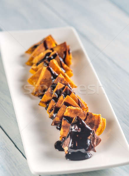 Pumpkin pancakes with chocolate topping Stock photo © Alex9500