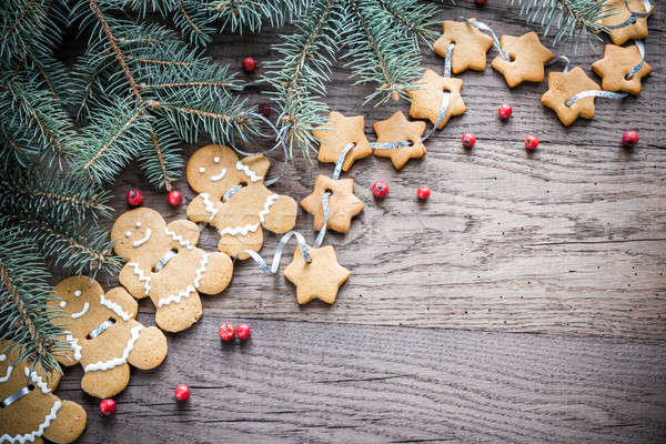 Gingerbread garland with Christmas tree branch Stock photo © Alex9500