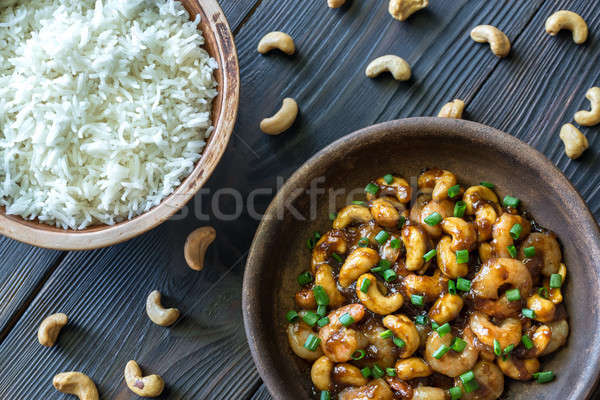 Portion of cashew shrimp stir-fry with rice Stock photo © Alex9500