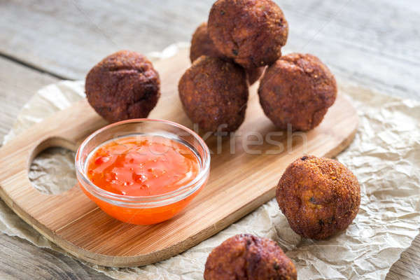 Chicken meatballs with spicy thai sauce Stock photo © Alex9500