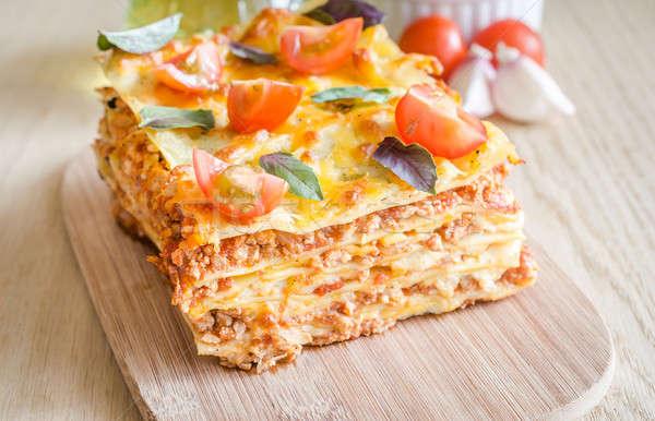 Stok fotoğraf: Lazanya · kiraz · domates · gıda · peynir · buğday · çatal