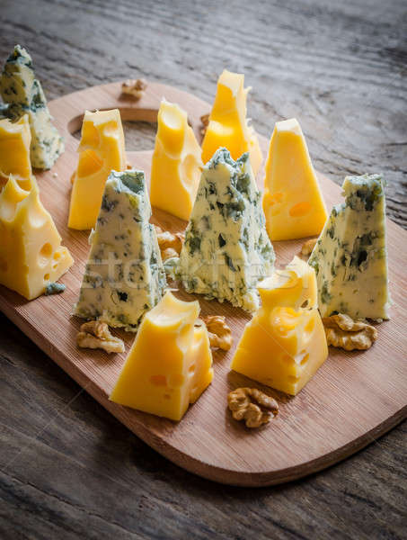 Pieces of emmental and blue cheese Stock photo © Alex9500