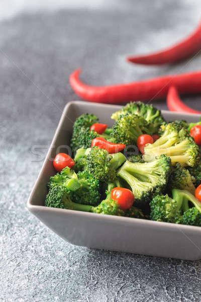 çanak brokoli çili arka plan yeme biber Stok fotoğraf © Alex9500