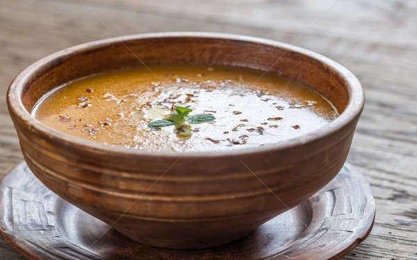ボウル 辛い カボチャ クリーム スープ 木製のテーブル ストックフォト © Alex9500