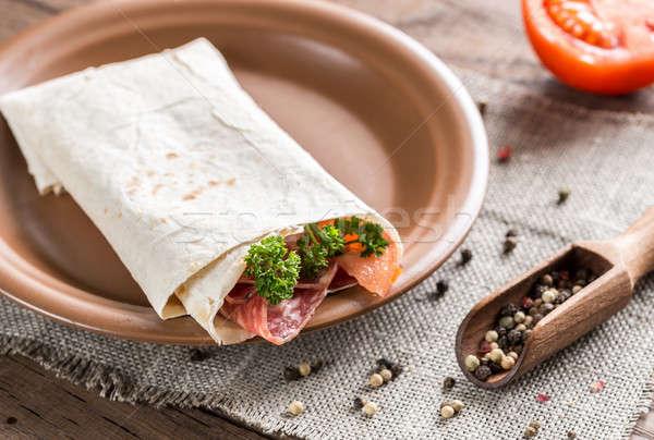 Tortilla salchicha tomates verde rojo carne Foto stock © Alex9500
