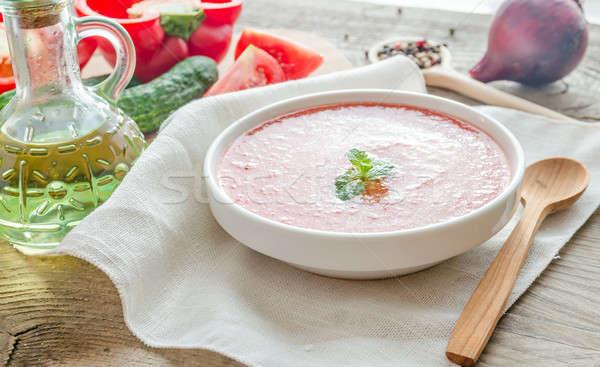 Porción ingredientes alimentos vidrio mesa verde Foto stock © Alex9500