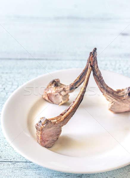 Stock fotó: Grillezett · bárány · borda · tányér · étel · konyha