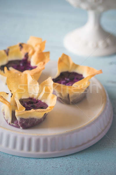 Filo cupcakes with blueberry cream cheese Stock photo © Alex9500