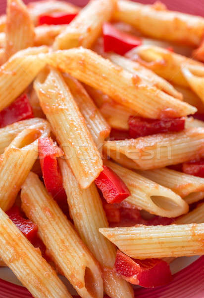 Penne with tomato sauce and fresh red pepper Stock photo © Alex9500