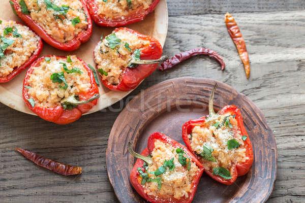 Töltött piros harang paprikák fehér rizs Stock fotó © Alex9500