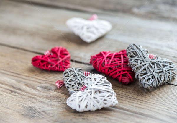 Handmade retro hearts on the wooden background Stock photo © Alex9500