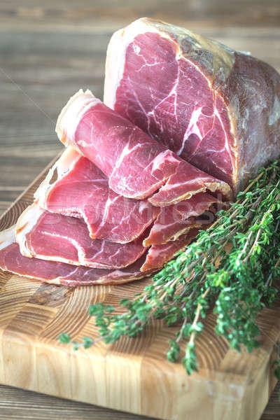 Prosciutto friss fa deszka étterem hús kövér Stock fotó © Alex9500