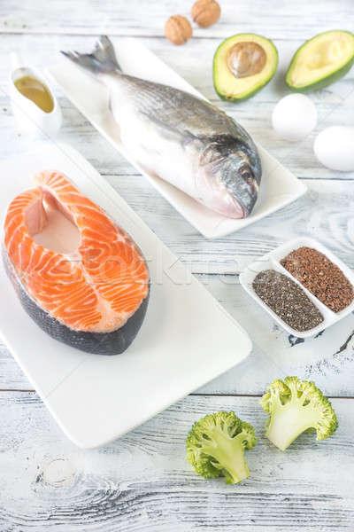 Voedsel omega3 vis vruchten ei tabel Stockfoto © Alex9500