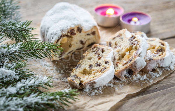Stock photo: Stollen with snowy fir branch