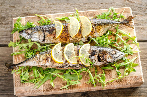 Gegrild makreel basmati rijst vers voedsel Stockfoto © Alex9500
