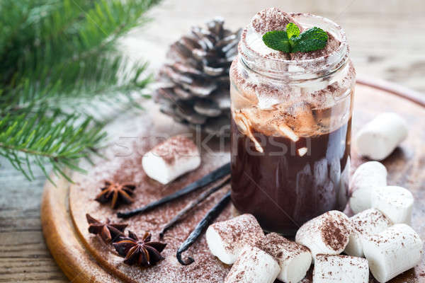 Verre jar chocolat chaud arbre alimentaire chocolat Photo stock © Alex9500