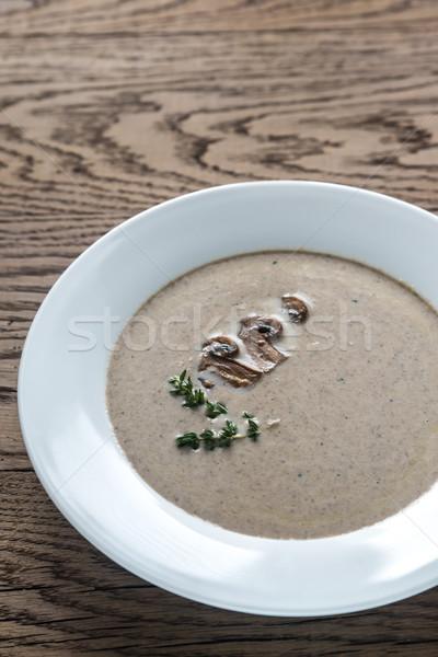 Kremsi mantar çorba ahşap masa arka plan Stok fotoğraf © Alex9500