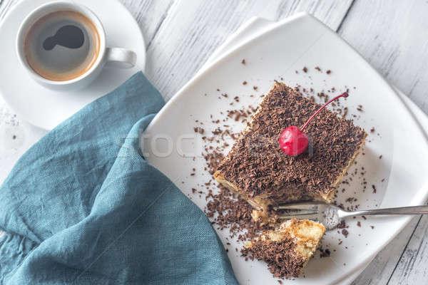 ティラミス チョコレート 白 プレート 光 表 ストックフォト © Alex9500