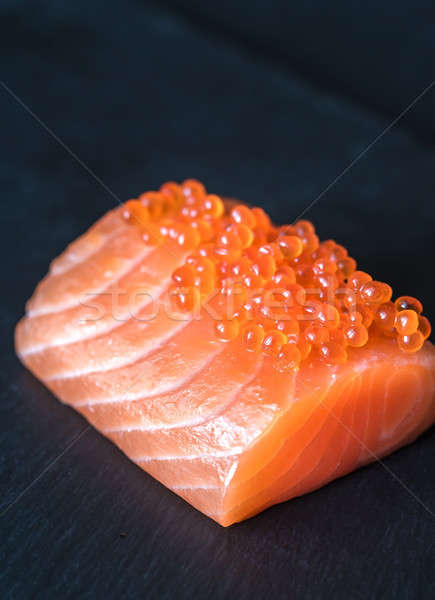 Saumon rouge caviar noir pierre bord Photo stock © Alex9500