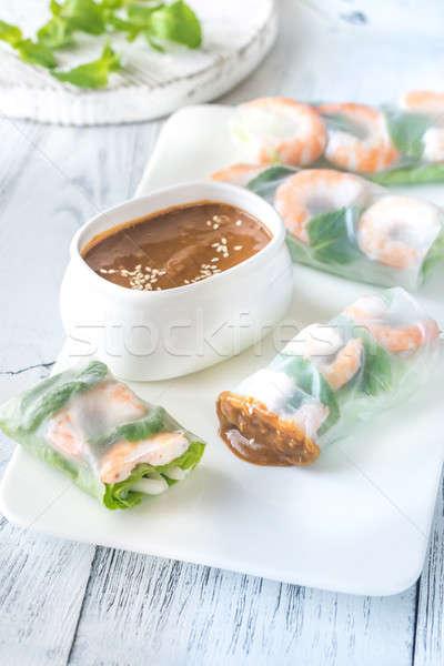 Shrimp rice paper rolls with peanut sauce Stock photo © Alex9500