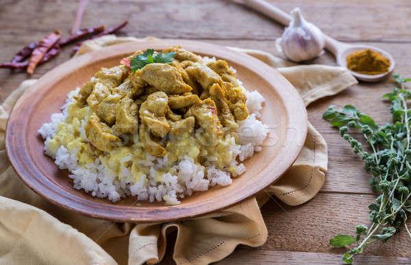 Сток-фото: индийской · курица · карри · белый · риса · продовольствие · фон
